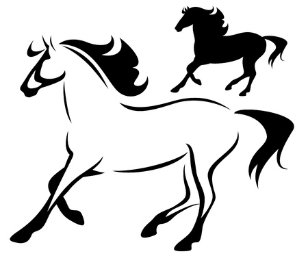 beautiful running horse - outline and silhouette