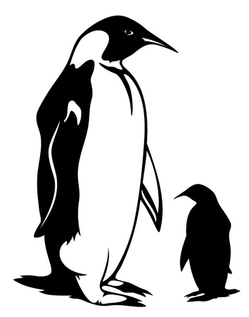 penguin vector illustration - black outline and silhouette
