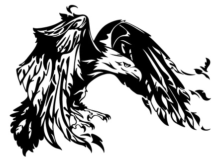 flying eagle vector illustration - swooping bird black and
