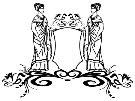 decorative element with ancient greek goddesses holding a shield