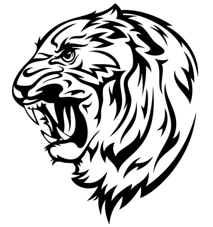 furious tiger illustration - realistic black and white outline of animal head
