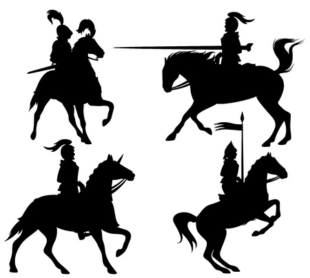 knights and horses fine vector silhouettes - black outlines over white