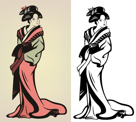 traditional japanese geisha  illustration - in color and monochrome