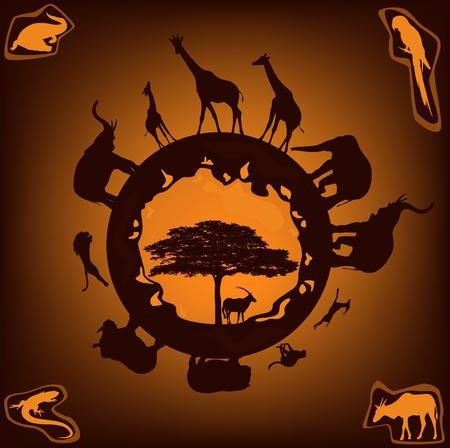 african wildlife design - animals set