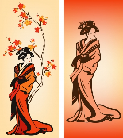 Autumn season japanese geisha colorful vector decorative elements