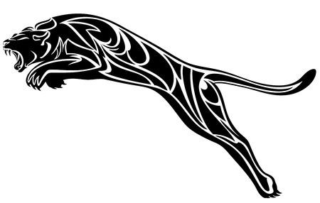 Illustration pour furious panther jump - black and white vector illustration - image libre de droit