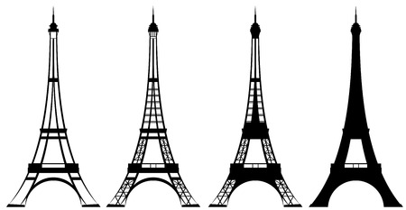 Eiffel tower silhouette and outline design set