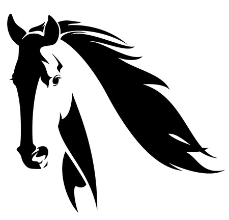 horse head with flying mane black and white vector design