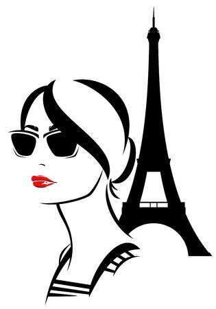 Foto de beautiful trendy woman wearing sunglasses with an eiffel tower behind - fashion girl travel in Paris vector - Imagen libre de derechos
