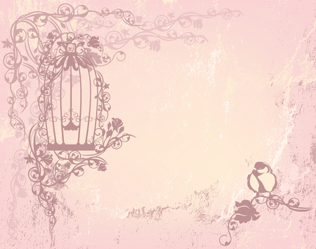 Illustration pour vintage rose garden with open cage and bird - shabby chic freedom concept background with place for your text - image libre de droit