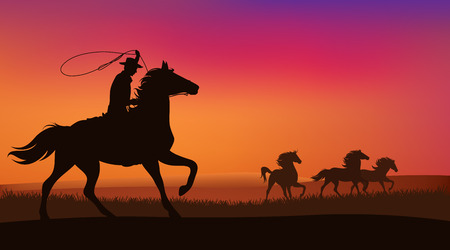 wild west landscape - cowboy chasing the herd of wild mustang horses at sunset