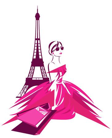 Illustration pour fashion shopping in Paris design - beautiful woman wearing pink dress with bags near Eiffel tower - image libre de droit