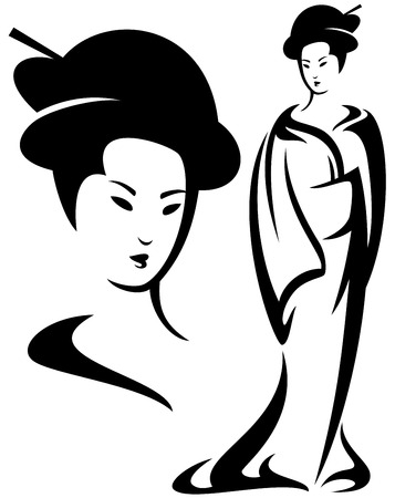 geisha black and white vector illustration - beautiful face and standing woman design