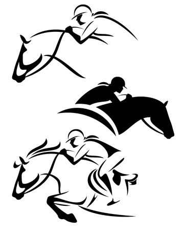 female rider - jumping horse outline and silhouette black and white vector set