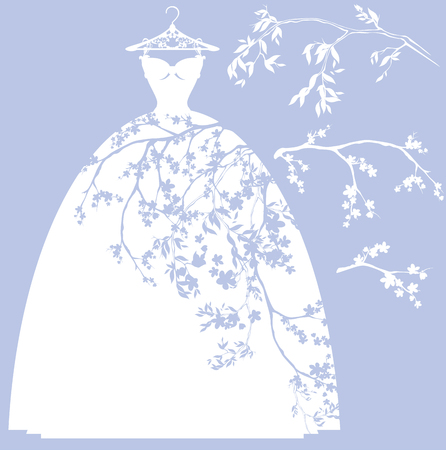 Illustration pour wedding dress design set - white silhouettes of gown and flower branches - image libre de droit