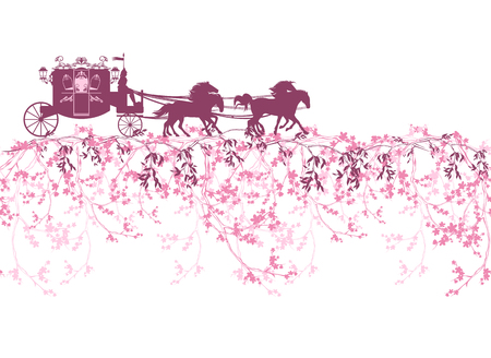 Illustration for horizontally seamless border with blooming branches, flowers and a carriage - Royalty Free Image