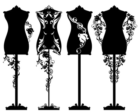 Illustration pour Tailor mannequin among rose flowers design set - black and white detailed luxurious outlines and silhouette - image libre de droit