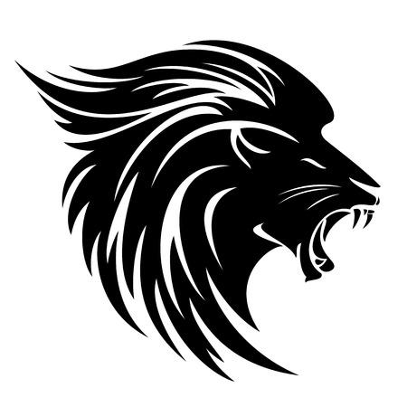 Illustration pour Lion head side view tribal design - black and white vector animal - image libre de droit