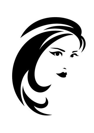 Ilustración de beautiful brunette woman with long hair black and white vector design - Imagen libre de derechos