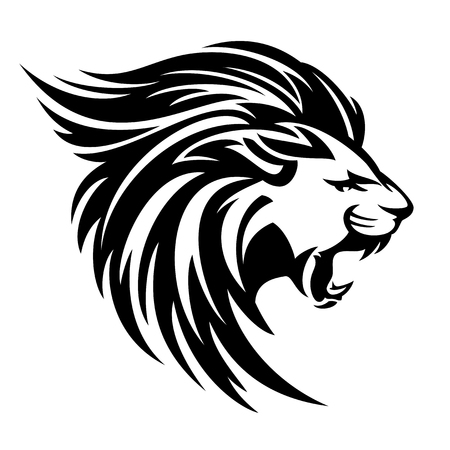Illustration for Roaring lion profile portrait, side view animal head black and white vector design. - Royalty Free Image