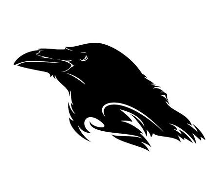 Illustration pour raven bird profile head black and white vector design - image libre de droit