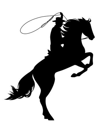 Ilustración de cowboy riding rearing up horse - wild west theme black vector silhouette - Imagen libre de derechos