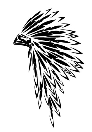 Illustration pour Native american tribal chief traditional feathered headdress black and white - image libre de droit
