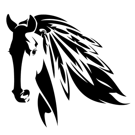 Illustration pour Wild horse with feathers in mane - native american spirit animal black and white - image libre de droit