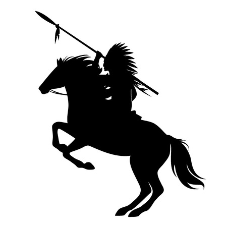 Illustration pour Native american indian chief with spear and feathered headdress riding a horse - image libre de droit