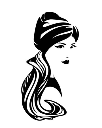 Illustration for Elegant woman wearing traditional turban head scarf - Royalty Free Image