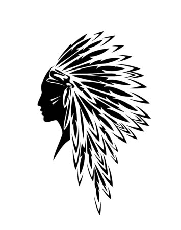 Illustration pour native american indian woman wearing traditional tribal feathered headdress - black and white profile head portrait - image libre de droit
