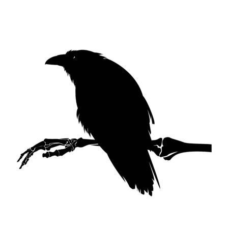 Illustration pour ominous raven bird sitting on human skeleton hand - Halloween dark witchcraft black and white design - image libre de droit