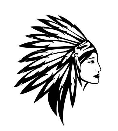 Illustration pour Beautiful native american Indian woman wearing feathered tribal warbonnet - image libre de droit