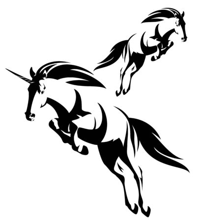Illustration pour Jumping forward mythical unicorn and wild mustang horse black and white vector outline set - image libre de droit