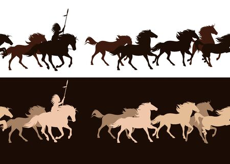 Illustration for native american tribal chief riding horse among galloping herd - horizontally seamless silhouette border design - Royalty Free Image