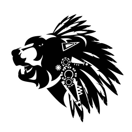 Illustration pour bear head with traditional native american chief feathered headdress decor - tribal style totem animal black and white vector design - image libre de droit