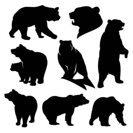 Illustration pour Wild grizzly and brown bear silhouette set - image libre de droit