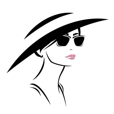 Illustration for beautiful young woman wering sunglasses and wide brimmed hat vector fashion portrait design - Royalty Free Image
