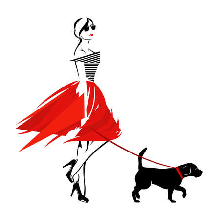 Illustration for vector design of beautiful stylish woman wearing fashion clothes walking with her pet dog on the leash - Royalty Free Image