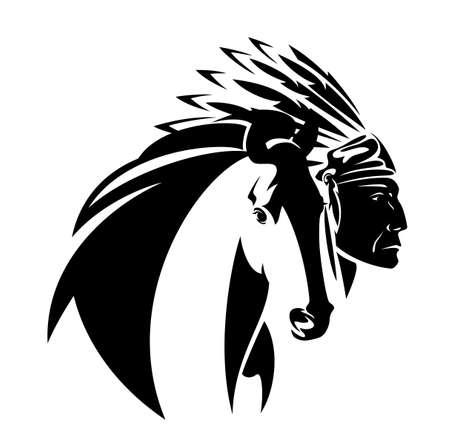 Illustration pour native american tribal chief wearing feathered headdress nad wild mustang horse head - black and white vector portrait outline - image libre de droit