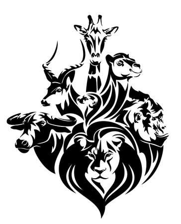 Illustration pour african wildlife black and white vector concept portrait - lion, antelope, buffalo, giraffe, camel and gorilla head outlines - image libre de droit