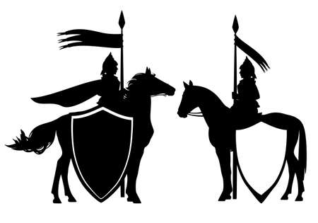 Illustration pour medieval style fantasy knight hero with horse and banner - black and white vector guard heraldic design set - image libre de droit