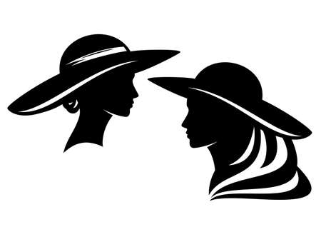 Illustration for elegant woman wearing retro style wide brimmed hat profile head - glamour and beauty concept vector portrait - Royalty Free Image