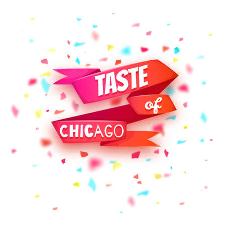 Taste of Chicago banner. Red ribbon with title. Vector illustration.