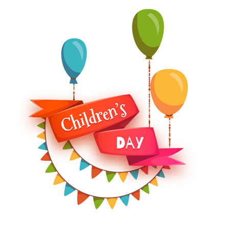 Red ribbon with Children Day title