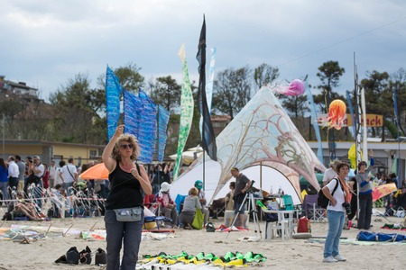 Cervia, Italy - May 2, 2015: International Kite Festival 2015, since 1981 the best kite masters of the world meet in spring on the beach of Cervia; like every year the sky is full of kites from around the world for this festival That combines fantasy and