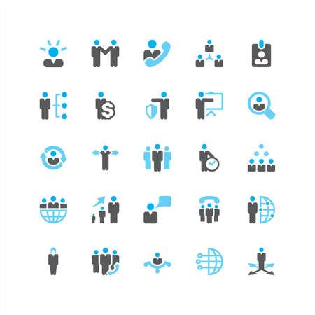 Blue Color Business Icons Set