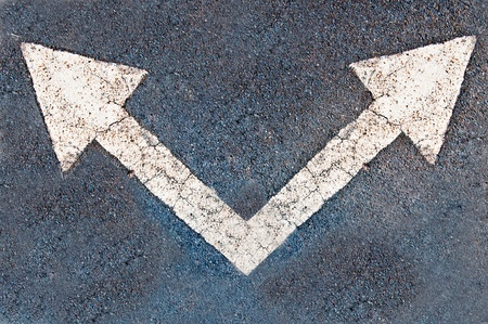 The White arrow on the road background