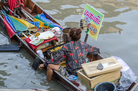 AMPAWA SAMUTSONGKRAM,THAIL AND - April 19, 2014: Most famous floating market in Thailand have variety of Thai Traditional Food