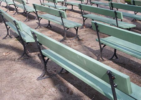 A lot of wooden Benches